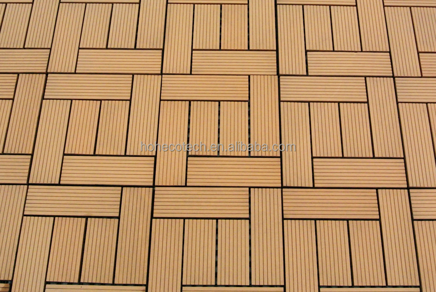 outdoor plastic wood flooring wpc interlocking decking tiles