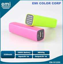 2200 Mah Slim Power Bank, 18650 Li ion Battery, And Charger for Mobile Phone
