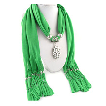 New Polyester gemstone Pendant Necklace Jewellery Scarf Lady Scarf