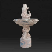 Garden marble stone marble fountain with fish