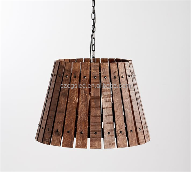 Modern Wooden pendant lamp indoor decorative iron chain hanging light