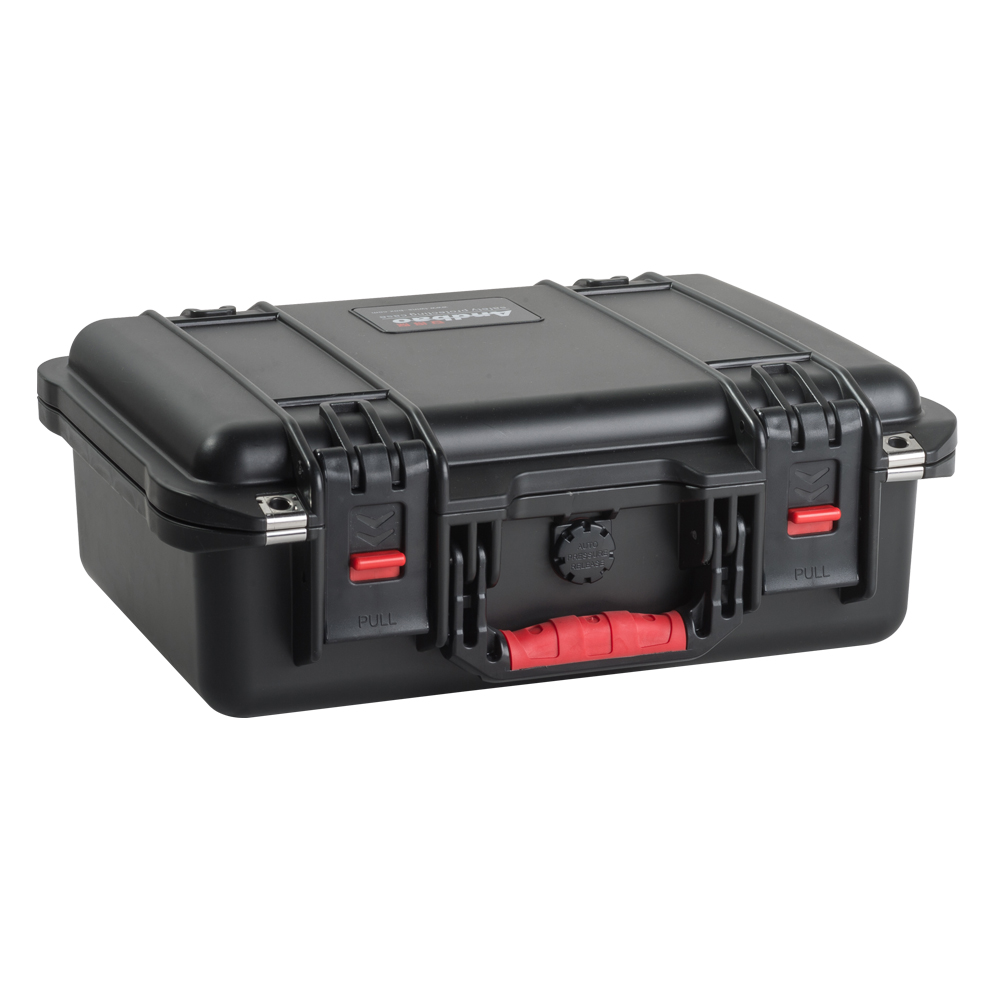 Rolling plastic waterproof tool case with foam