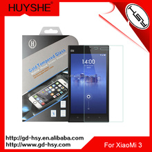 HUYSHE 9h 0.3mm anti fingerprint mirror screen protector for xiaomi 3 tempered glass screen protector