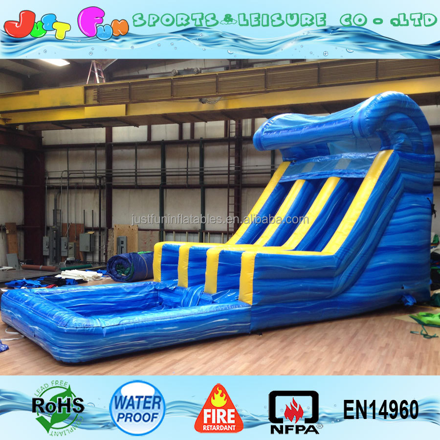 Inflatable Water Slide Tall: 16ft Tall 2 Lanes Blue Big Water Slide Inflatable For Kids