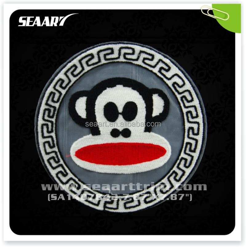 Crochet Round Monkey Hot Fix Tranfer Motif