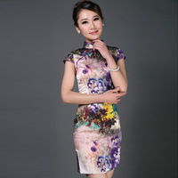 Purple Silk Traditional Chinese Garments Summer Qipao