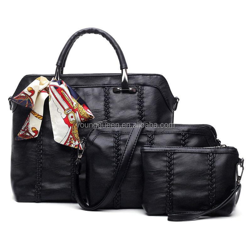 ZW327 fancy ladies office hand bag set 3 Piece bags