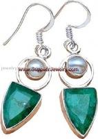 Brazilian Emerald Pearl Quality Jewelry Silver Fashion Jewellery Crosses Earrings