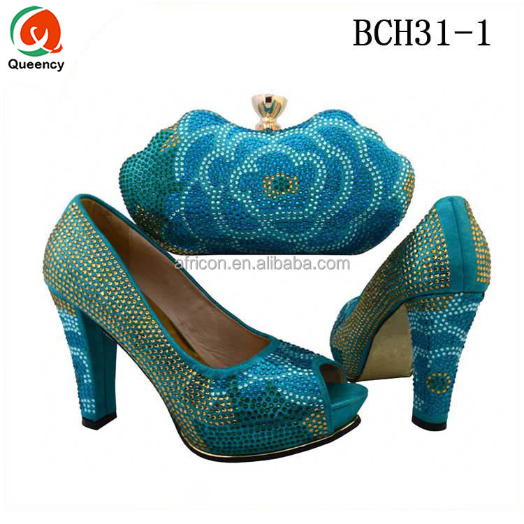 BCH31 Queency Fashion Wholesale Good Quality Italian High Heel Matching Shoes and Bags Set