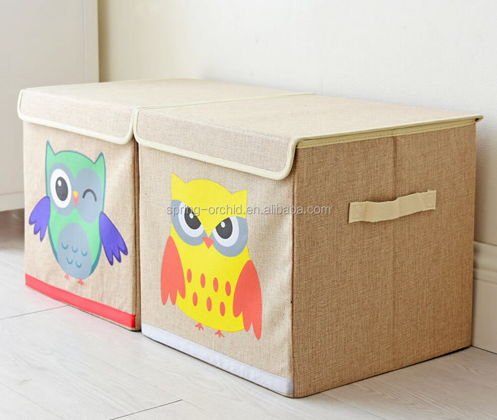 Linen Fabric Collapsible Convenient Cartoon Owl Toy Storage Bin For Office, Bedroom and Closet