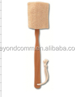 Natural loofah brush with wooden handle and hanging rope