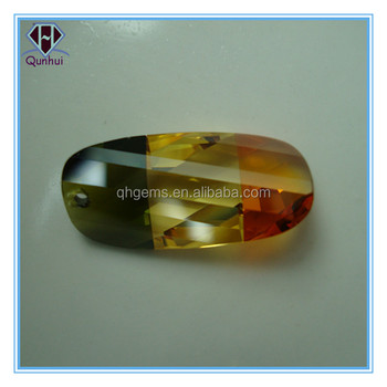 Oval shaped multi-color cz gemstone