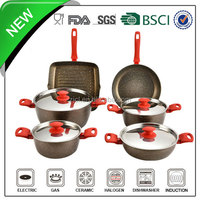 10pcs coffee color aluminum porcelain enamel cookware sets