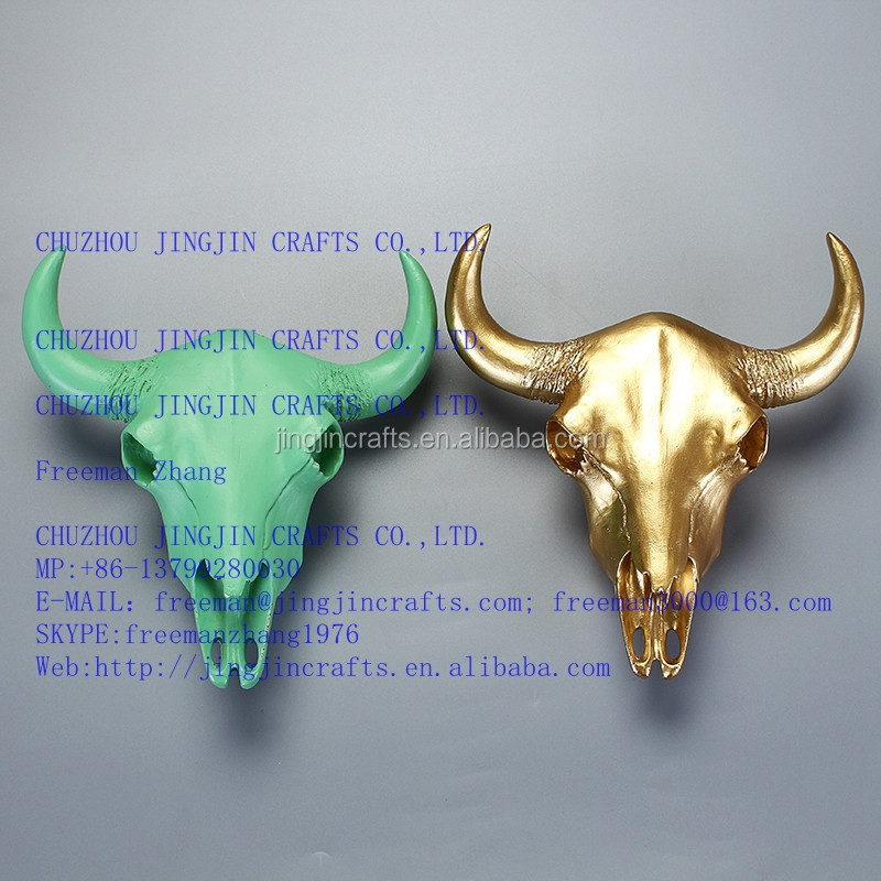 resin bull head /golden,green solid color resin bull head/modern western artificial resin home wall decoration,wall hanghing