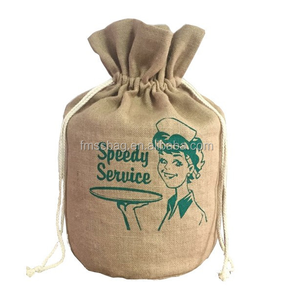 Eco-Friendly Durable Jute Rice Wheat Coffee Bean Packaging Bag Jute Drawstring Bag For Rice