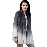 QC2160 new arrival knitted rabbit fur gradient color jacket /coat