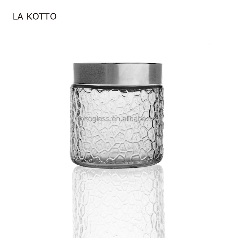 800ml cylindrical shape embossed glass pot with metal lid Glass candy jar