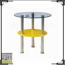 Round design cheap swivel glass top center table