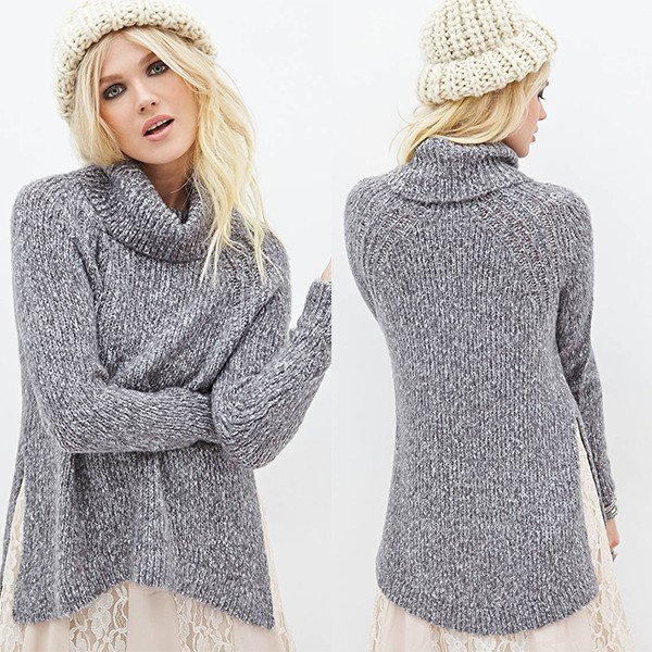 Newest Style Autumn And Winter Women's Heathered Turtleneck Sweater