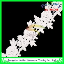 New product promotion white embroidery cotton polyester border lace trim