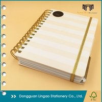Fully custom OEM Wholesale Spiral binding Hardcover Notebook with Golden Wire Ring and Elastic strap Closure