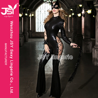JSY ladies leather catsuit,crotchless pvc catsuit,sexy leather catsuit