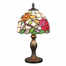 8 inch tiffany floral table lamp stained glass table light decorative home decor