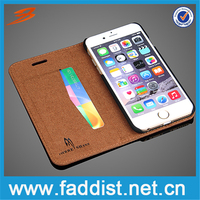 2016 New Products stand card slot genuine leather wallet case for iphone 6