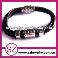 PUC0071 2016 Hot Selling Leather Stainless Steel Bracelet Jewelry