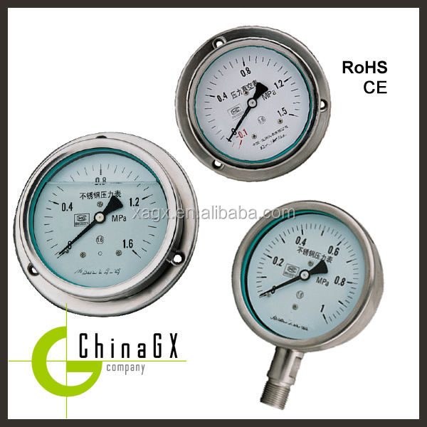 Miniature 316ss silicone oil filled bourdon tube pressure gauge