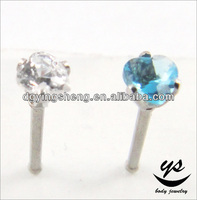 Lovely heart stone cubic zircone diamond designs of nose pins