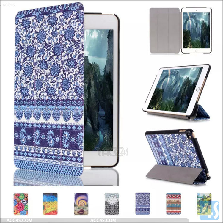universal color print folio leather case for ipad mini 4, for ipad case leather folio ,for ipad mini 4 leather case