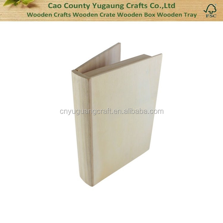 Custom unfinished wooden book boxes Decorative wood bookboxes