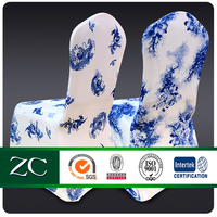 custom design Blue and white porcelain print Air layer fabric hotel banquet polyerster spandex chair cover