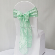 Cheap Light Green Wedding Pintuck Taffeta Bride to be Chair Sashes for Banquet and Party
