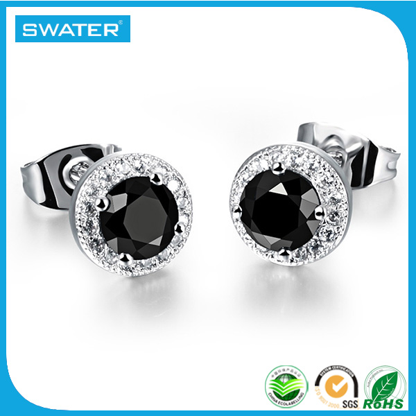 2017 Trending Products Stainless Steel Silver Gold Black Black Diamond Earrings For Women