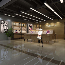 New store design with glass showcase and wood retail counter