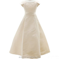Modest Scoop A-line Bowsknot Cap Sleeves Victorian Flower Girl Dresses
