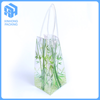 Heat seal pvc ice bag with handle/full color printing pvc handle bags