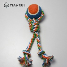 High quality dog puppy cotton rope and tennis ball animal chew toy dog treat toy