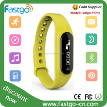 2015 fashion yellow color fitness tracker watch bracelet with bluetooth 4.0
