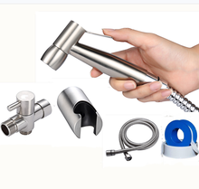 Stainless steel hand toilet bidet sprayer single nozzle self-cleaning douche bidet set for bathroom