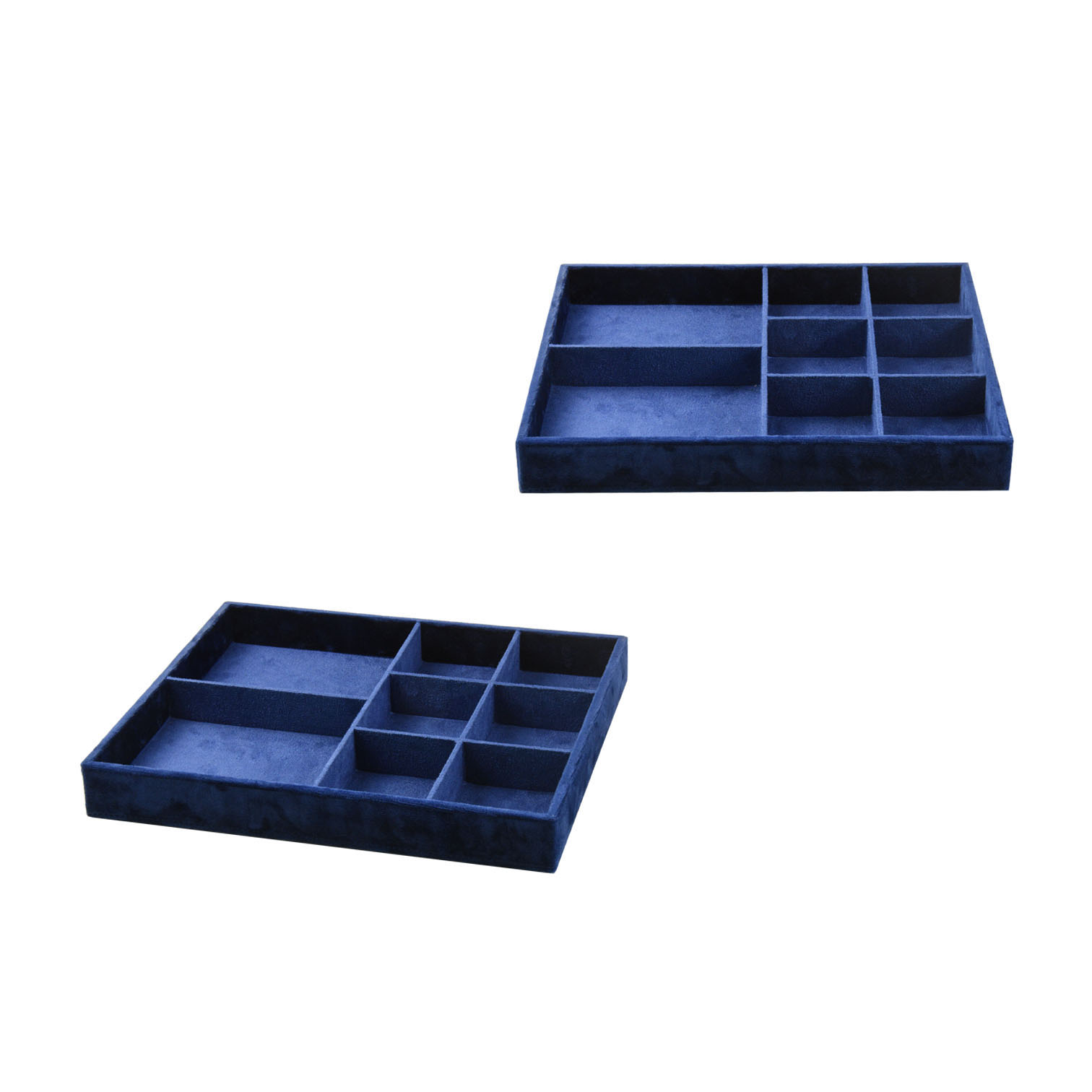 Custom luxury royal blue velvet eight slots jewelry tray desktop organizer