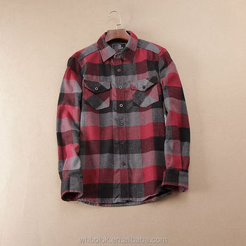 Custom made Men's thick long sleeve shirt flannel cotton casual shirts
