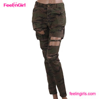 Guangzhou New Design Camouflage Hole Colombian Jeans Wholesale