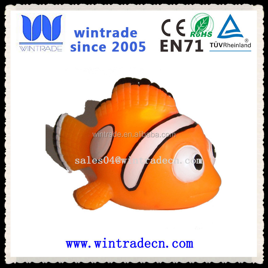 customize soft vinyl water toy fish bath rubber clown fish