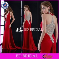 Custom Made Halter Neck Beaded Back Long Red Chiffon Evening Dress Imported From China