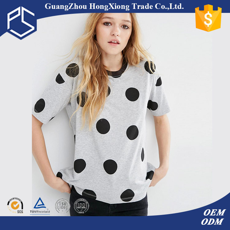 GuangZhou Factory 180 Grams Sleeveless Cotton Black Round Spots Grey Printed Open Hot Sexi Images For Girls T Shirt
