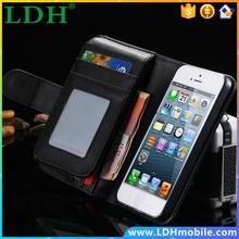Deluxe Classic Black Leather Flip Full Wallet Bag Case For iphone5 5s Photo Frame Cell Phone Pouch Covers With Card Holder