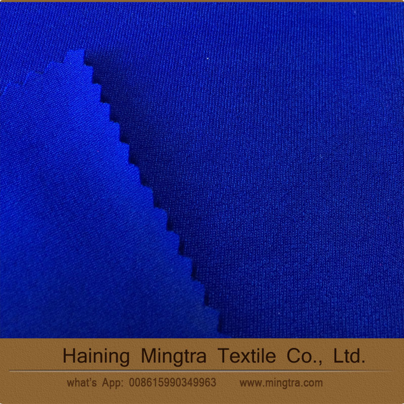New style china factory supply blue 50%PBT 50%poly single jeresy knit fabric